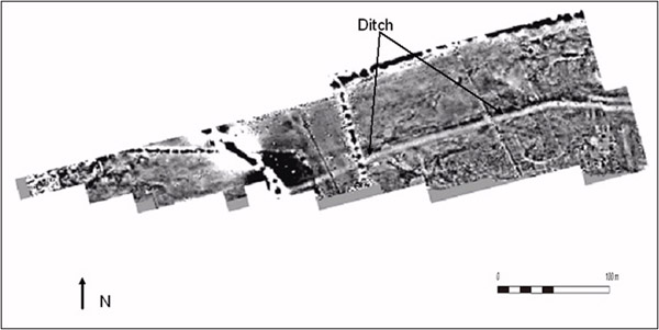 Magnetic survey at Auchendavy, showing the Ditch of the Antonine Wall. The fort lies just outside the graphic to the east.