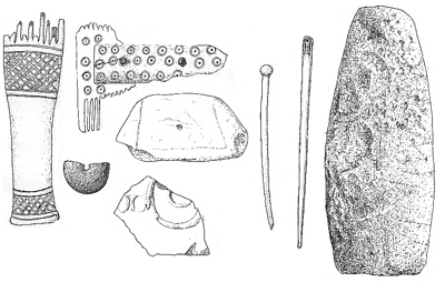 Iron Age/Viking artefacts from Garry Iochdrach, North Uist, Scotland. Not to scale. Drawing: Michael Marshall.