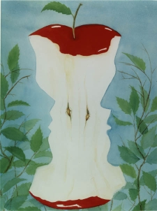 painting of greenery against a blue sky; in the foreground a nearly-eaten red apple, in the contours of which two face profiles (chins, noses, foreheads) appear